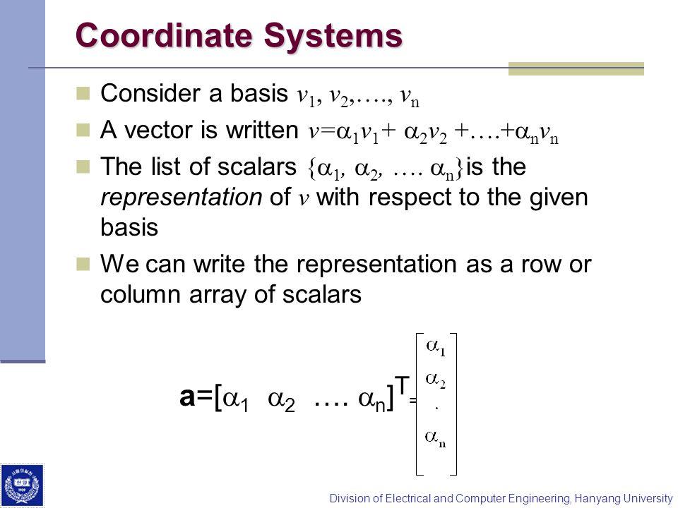 Coordinate Systems a=[a1 a2 …. an]T= Consider a basis v1, v2,…., vn